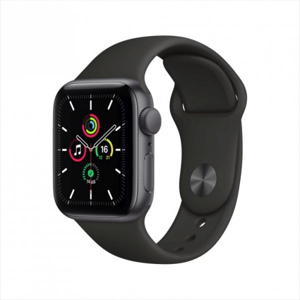 Apple Watch SE 44mm Space Gray Aluminum Case / Black Sport Band