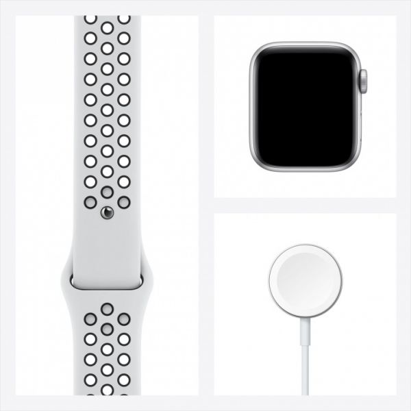 Apple Watch SE 44mm Silver Aluminum Case / Pure Platinum/Black NIKE Sport Band
